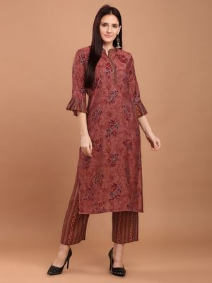 Women Maroon Chanderi Silk Printed Straight Kurta with Palazzos