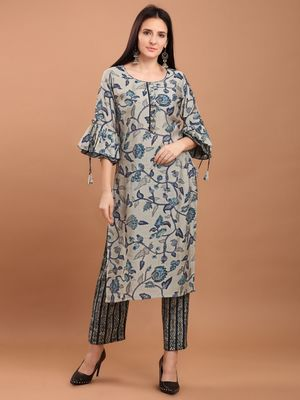 Women Blue Chanderi Silk Printed Straight Kurta with Palazzos