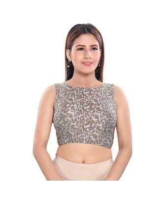 Muhenera Women's Jacquard Sleeveless Saree Blouse