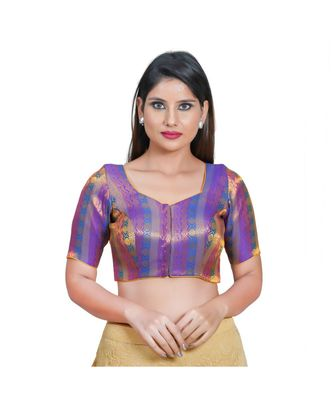 Muhenera Women's Jacquard Elbow Sleeves Saree Blouse