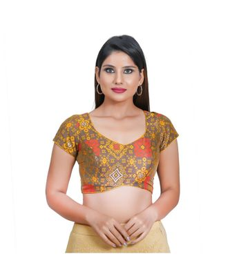 Muhenera Women's Jacquard Short sleeves Saree Blouse