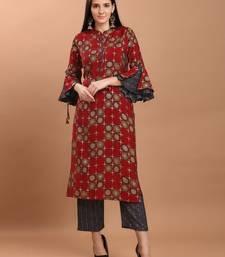 Women Red Chanderi Silk Printed Straight Kurta with Palazzos