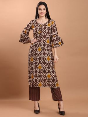 Women Maroon Chanderi Silk Printed Straight Kurta with Palazzo
