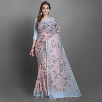 Women's Peach Floral Printed Linen Silk Saree