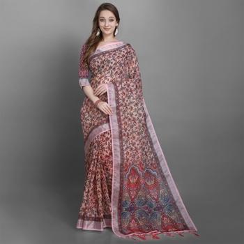 Women's Multi Floral Printed Linen Silk Saree