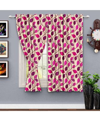 A Magenta Printed  Polyester Window Curtain