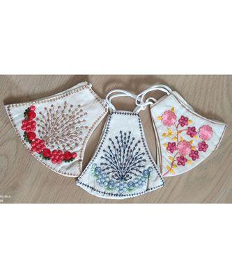Cotton 2 layer embroidered designer masks?