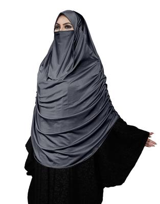 JSDC Women Islamic Wear Satin Lycra Plain Long Chaderi Abaya Hijab With Naqab & Frills Style