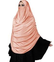 JSDC Women Modest Wear Satin Lycra Plain Long Chaderi Abaya Hijab With Naqab & Frills Style
