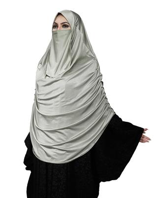 JSDC Women Casual Wear Satin Lycra Plain Long Chaderi Abaya Hijab With Naqab & Frills Style