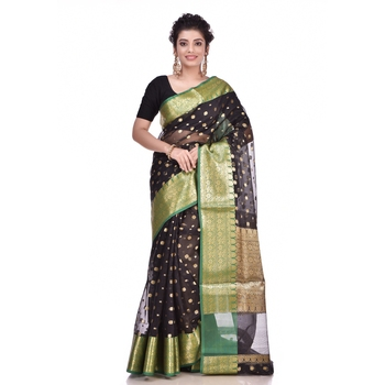Black woven organza saree with blouse