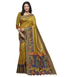 Yellow hand woven raw silk saree with blouse