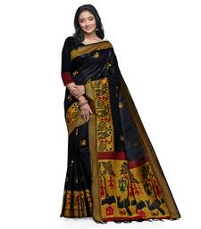 Black hand woven raw silk saree with blouse