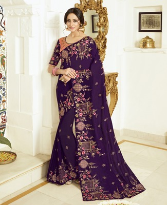 Dark violet embroidered silk blend saree with blouse
