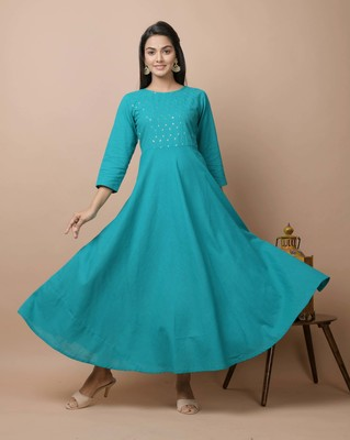 Teal-green plain cotton long-kurtis
