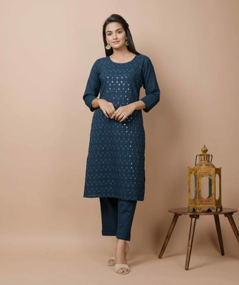 Navy-blue plain cotton cotton-kurtis