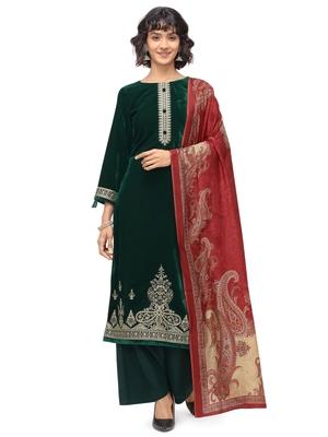 Green embroidered velvet salwar