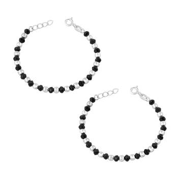 Silver & Black Beads Nazariya Sterling Silver Anklet For Kids-ANKK008