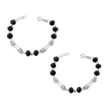 Kids Silver & Black Beads Nazariya Sterling Silver Anklet-ANKK007