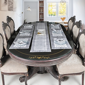 Home Decorative Table Runner Table Cloth With 6 Piece of Tablemats