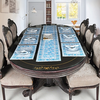 Cotton Table Living Room Decor Home Decorative Table Cloth With 6 Piece of Table mats
