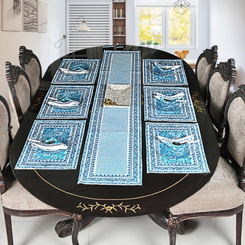 Modern Style Cotton Table Top Decorative Tapestry With 6 Piece of Table Mats ( Size: Runner: 72 X 12,Mats: 18 X 12 Inch)