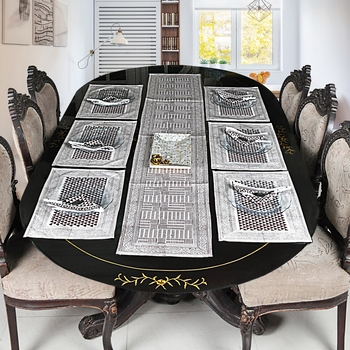 Home Furnishing Decor Cotton Table Cloth With 6 Table mats & Napkins ( Size: Runner: 72 X 12,Mats: 18 X 12 Inch)