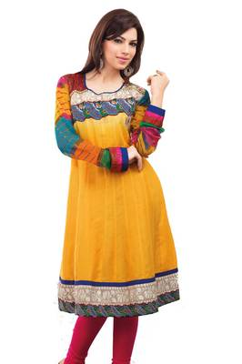 ISHIN Cotton Stitched Yellow Kurti SHINY