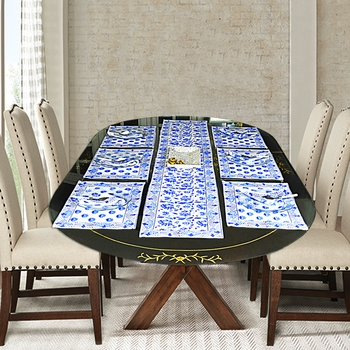 Christmas Special Cotton Table Runner Tapestry With 6 Piece of Table Placemats (Size: Runner:72 X 12, Mats:18 X 12 Inch)