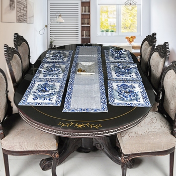 Home & Kitchen Decorative Cotton Table Top Decor With 6 Piece of Table Mats (Size: Runner:72 X 12, Mats:18 X 12 Inch)