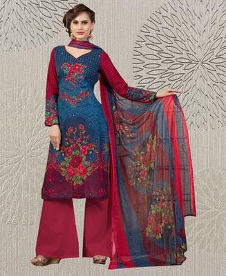 Blue floral print cotton salwar