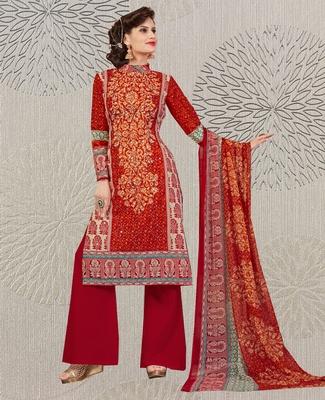 Red geometric print cotton salwar