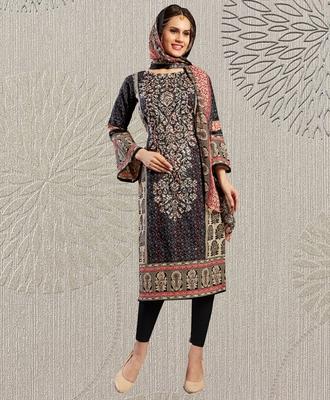 Black geometric print cotton salwar