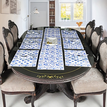 Home Decorative Cotton Tabletop Decor Table Runner With 6 Piece Table Placemats (Size:Runner:72 X 12, Mats:18 X 12 Inch)