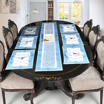 Home & Kitchen Decorative Table Runner With 6 Piece of Table Place Mats (Size: Runner:72 X 12, Mats:18 X 12 Inch)