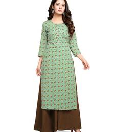 Teal-green printed cotton ethnic-kurtis