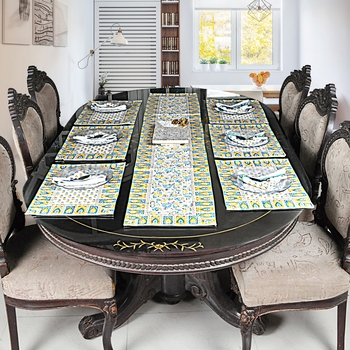 Christmas New Year Decorative Cotton Table Cloth Table Runner With Table mats (Size: Runner:72 X 12, Mats:18 X 12 Inch)