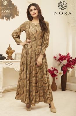 Sajnee Beige Rayon Foil Printed Designer Gown Style Kurti