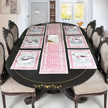 New Year Special Cotton Holidays Table Runner Table Cloth With Table Mats (Size: Runner:72 X 12, Mats:18 X 12 Inch)