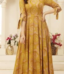 Sajnee Yellow Rayon Foil Printed Designer Gown Style Kurti