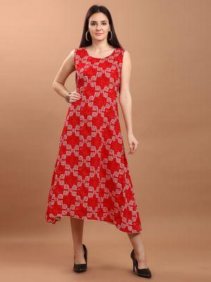 Sajnee Women's Red Printed Rayon High Low Kurta dress