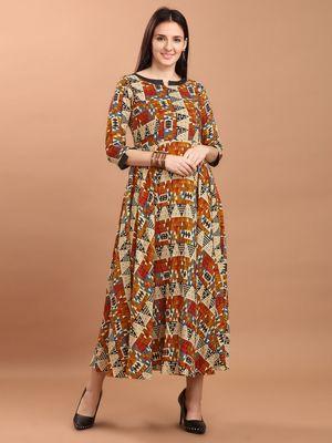 Sajnee Women's Multicolor Printed Rayon Flared Kurta