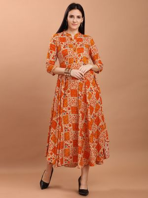 Sajnee Women's Orange Floral Print Rayon Flared Kurta