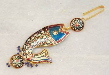 Indian bridal wear waist key chain traditional gold meenakari kamar challa jewelry
