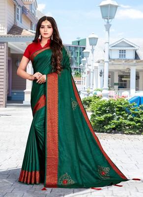 Green Color Ciroski Work Designer Jacquard Pure Silk Saree With Blouse Piece