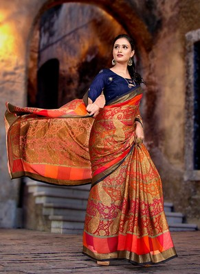 Orange Color Daily Wear Printed Softy Brasso Saree  With Blouse Piece