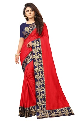 Red Vichitra Silk With Jacquard Lace Saree With Blouse Piece.