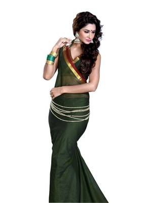 ISHIN Cotton Dark Green Saree Santoor