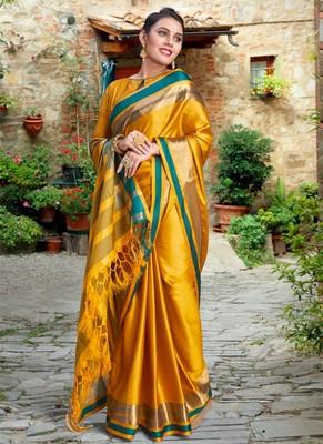 Yellow Color Designer Banarasi Silk Saree With Blouse Piece