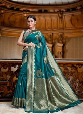 Green Color Designer Banarasi Silk Saree With Blouse Piece